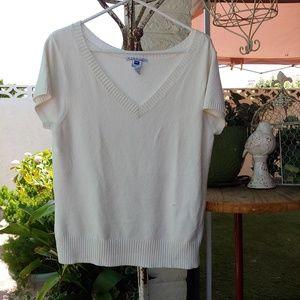 GAP STRETCH Short Sleeve Seater, White Knit XXL